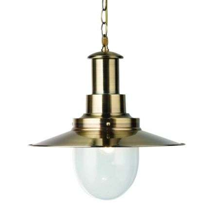 Fisherman Pendant 1 Light Large Pendant Antique Brass With Seeded Glass