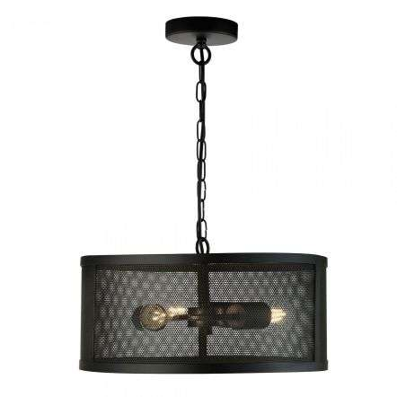 Fishnet 3 Light Drum Pendant Matt Black
