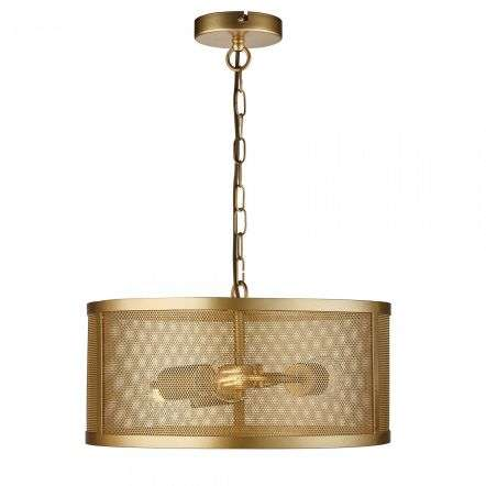 Fishnet 3 Light Drum Pendant Matt Gold