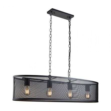 Fishnet 4 Light Oval Pendant Matt Black