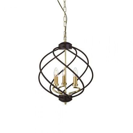 Flow 3 Light Pendant Black / Gold