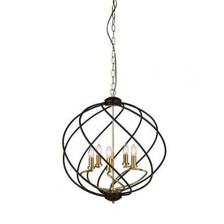 Flow 5 Light Pendant Black / Gold