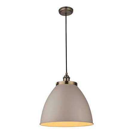Franklin Pendant Taupe & Antique Brass