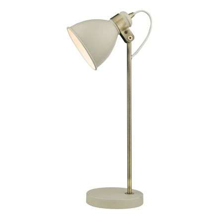 Frederick Gloss Cream Table Lamp with Antique Brass Detail