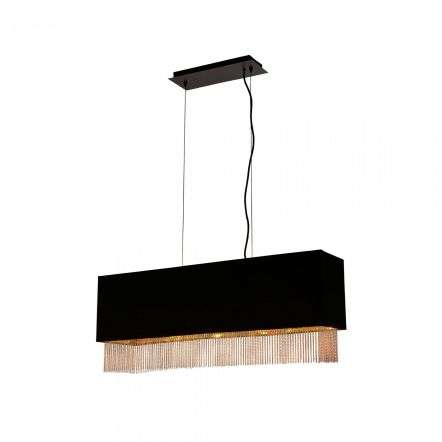 Fringe 4 Light Pendant Black Shade With Gold Chain