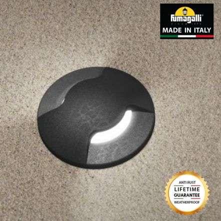 Fumagalli ALDO2LBL Aldo Round 2 Light Black Walkover or Recessed Wall Light