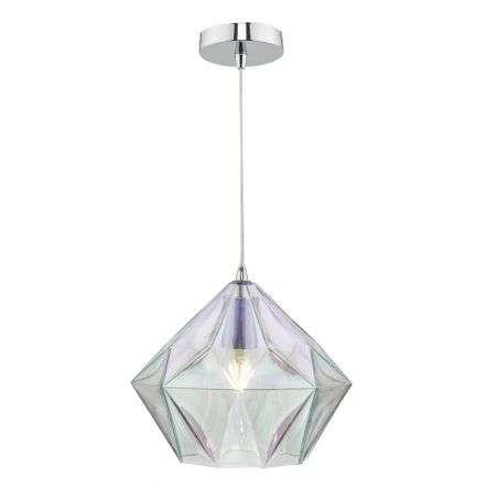 Gaia Pendant in Polished Chrome & Iridised Glass