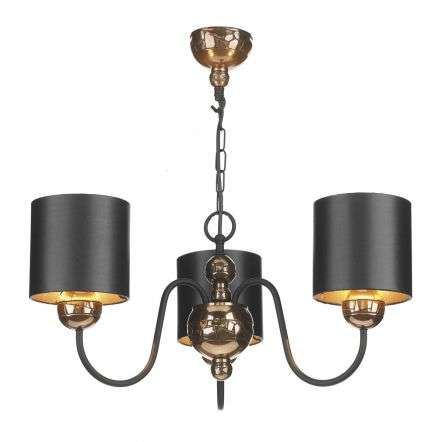 Garbo 3 Light Pendant Bronze complete with Black Bronze Shades
