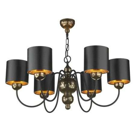 Garbo 6 Light Pendant Bronze complete with Black Bronze Shades