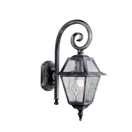 Genoa Ip44 Black & Silver Wall Light With Lead Glass