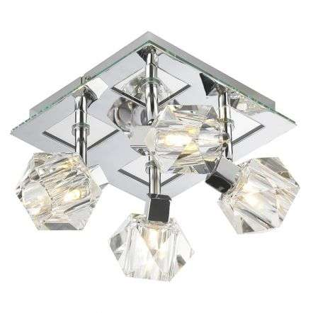Geo 4 Light Square Plate Polished Chrome