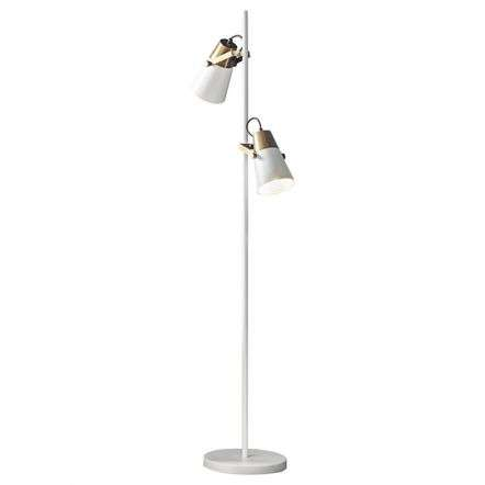 Gerik Floor Lamp in White with Brass Detail