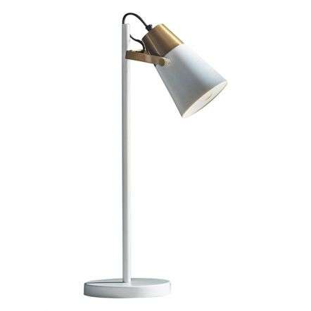 Gerik Task Lamp in White with Brass Detail
