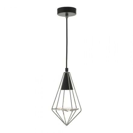 Gianni 1 Light Pendant Black, Polished Chrome & Glass
