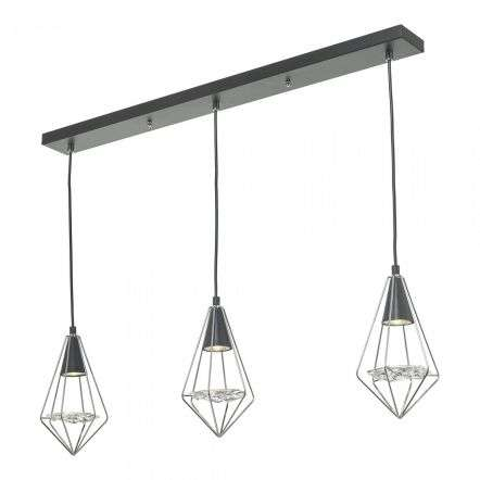 Gianni 3 Light Pendant Black, Polished Chrome & Glass