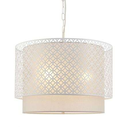 Gilli 3 Light Pendant C/W Grey Shade & Chalk White Detail