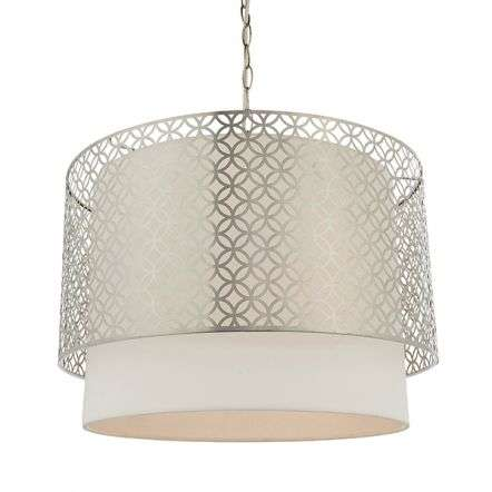 Gilli 3 Light Pendant C/W White Shade & Satin Nickel Detail