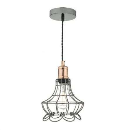 Ginny 1 Light Pendant Black Chrome/ Copper
