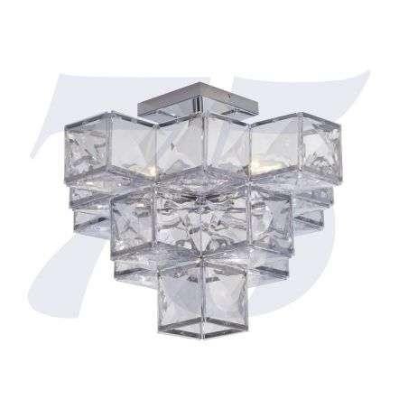 Glacier 5 Light Acryclic Semi Flush  Chrome