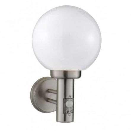 Globe Ip44 Satin Silver Outdoor Wall Light With Opal Glass Shade