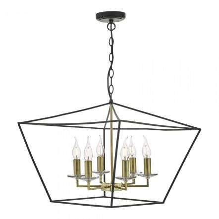 Gretchen 6 Light Pendant Matt Black & Polished Brass