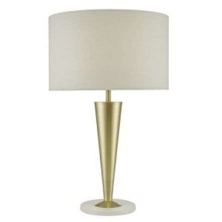 Gunnar Table Lamp Gold & White C/W White Drum Shade