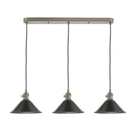 Hadano 3 Light Suspension in Antique Chrome With Antique Pewter Shades