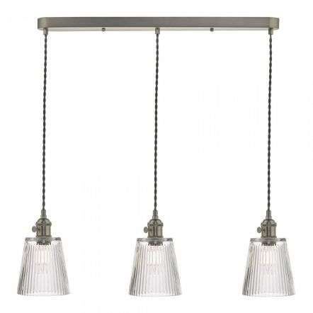 Hadano 3 Light Suspension in Antique Chrome With Ribbed Glass Shades