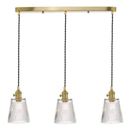 Hadano 3 Light Suspension in Natural Brass With Ribbed Glass Shades
