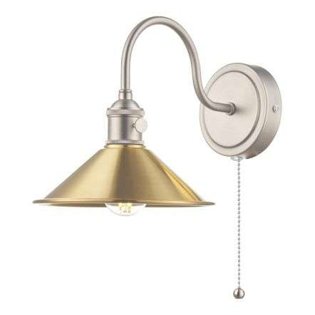 Hadano Antique Chrome Wall Light With Aged Brass Shade