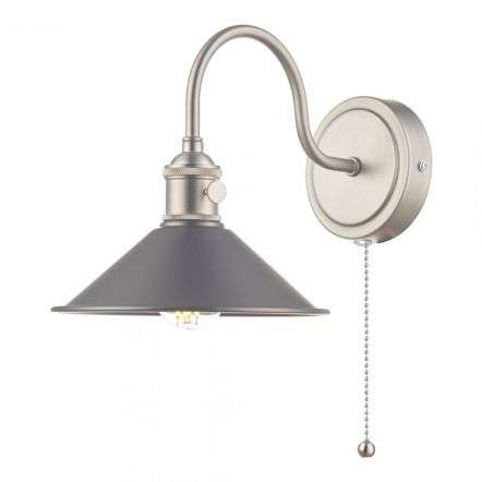 Hadano Antique Chrome Wall Light With Antique Pewter Shade