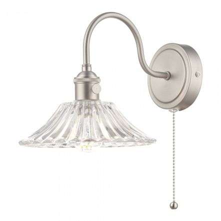 Hadano Antique Chrome Wall Light With Flared Glass Shade