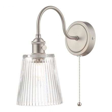 Hadano Antique Chrome Wall Light With Ribbed Glass Shade