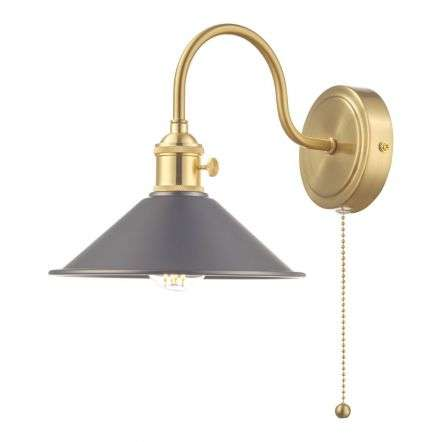 Hadano Brass Wall Light With Antique Pewter Shade