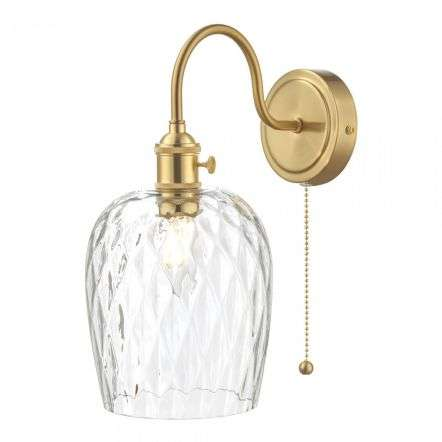 Hadano Brass Wall Light With Dimpled Shade