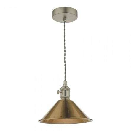 Hadano Pendant in Antique Chrome With Aged Brass Shade
