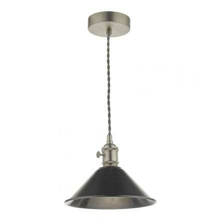 Hadano Pendant in Antique Chrome With Antique Pewter Shade