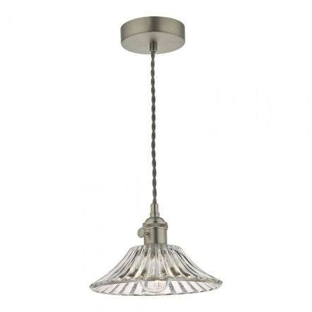 Hadano Pendant in Antique Chrome With Flared Glass Shade