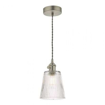 Hadano Pendant in Antique Chrome With Ribbed Glass Shade