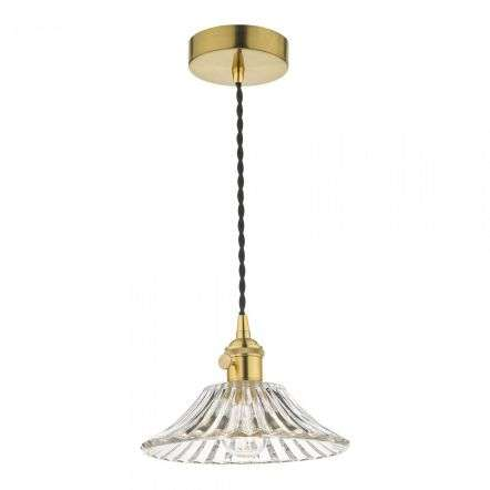 Hadano Pendant in Natural Brass With Flared Glass Shade