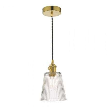 Hadano Pendant in Natural Brass With Ribbed Glass Shade