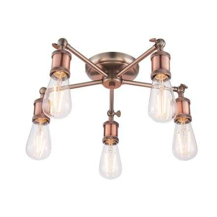 Hal 5 Light Semi Flush in an Aged Copper Finish