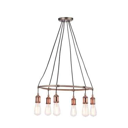 Hal 6 Light Pendant Aged Copper Finish