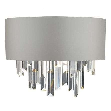 Halle Crystal Wall Light C/W Grey Shade