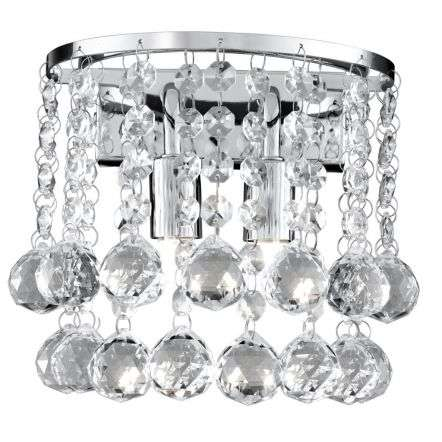 Hanna Chrome 2 Light Round Wall Bracket Clear Crystal Ball