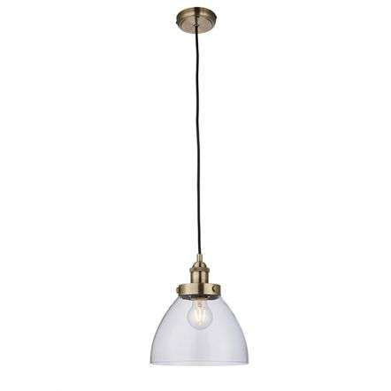 Hansen 1lt Pendant in Antique Brass 40W