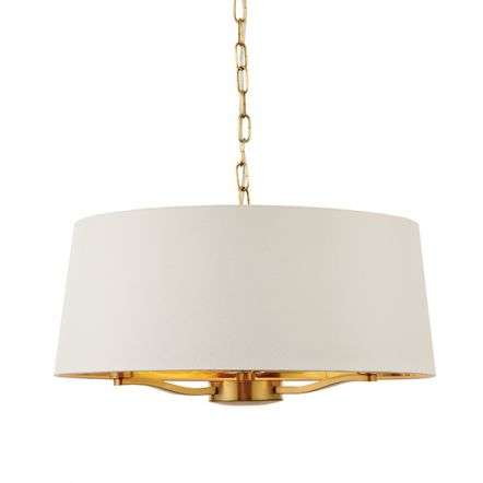 Harvey 3 Light with Drum Shade in Satin Gold