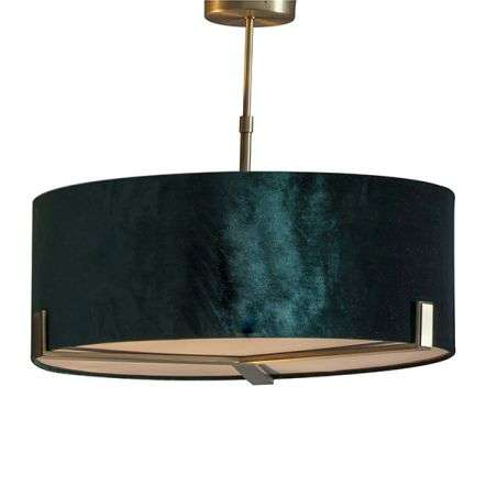 Hayfield 3 Light Pendant in Matt Antique Brass C/W Shade