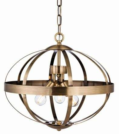 Healey 3 Light Pendant in Antique Brass Finish