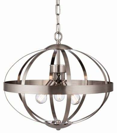 Healey 3 Light Pendant in Brushed Steel Finish